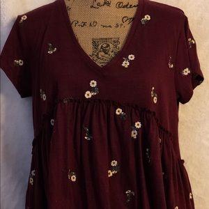 Burgundy Floral Top
